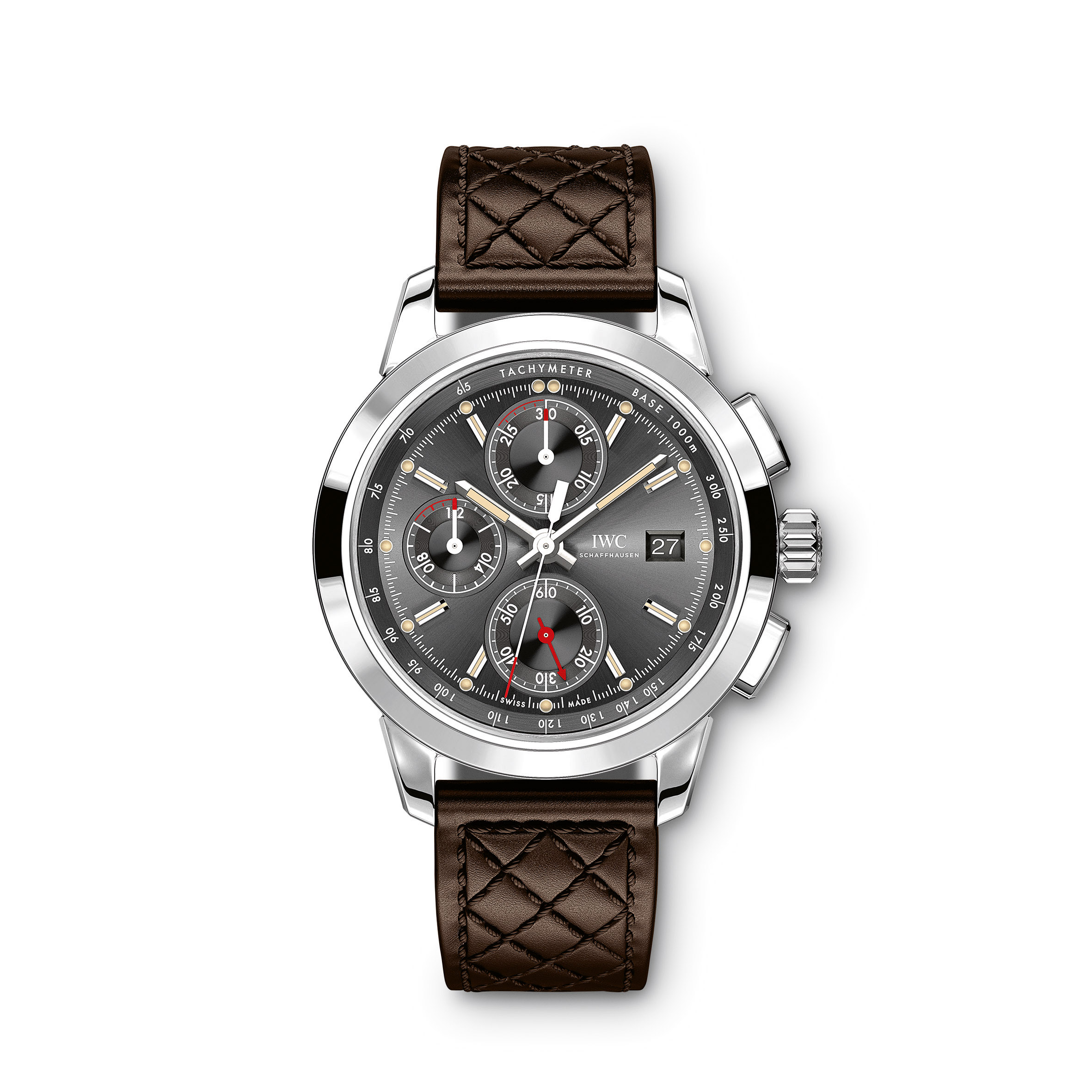 """HANDOUT – The Ingenieur Chronograph Edition """"Rudolf Caracciola"""" (Ref. IW380702) from IWC Schaffhausen features a case in stainless steel, rhodium-plated hands, slate-coloured dial and a luxurious brown calfskin strap. The watch is dedicated to racing driver Rudolf Caracciola, who took three European Drivers' Championship crowns in the 1930s. The dial imitates the instrument look of the historic racing cars which, at the height of Caracciola's career, took him from one victory to the next. The timepiece is limited to 750 pieces. (PHOTOPRESS/IWC)"""