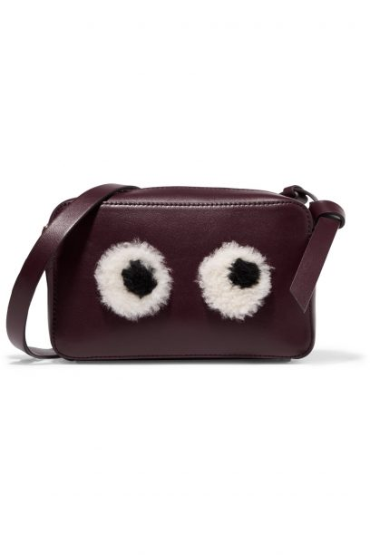 Anya Hindmarch eyes-mini-shearling-trimmed-leather-shoulder-bag
