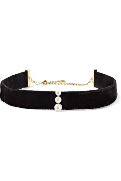 Anissa_Kermiche14-karat-gold-pearl-diamond-and-velvet-choker