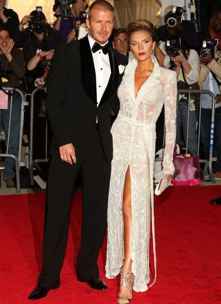David Beckham and Victoria Beckham in vintage Giorgio Armani 2008
