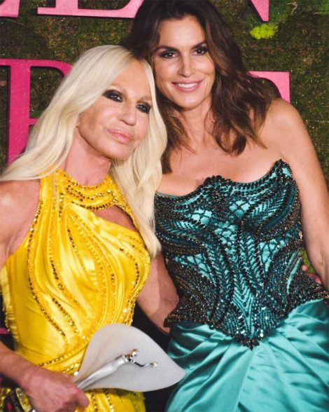 Cindy Crawford with Donatella Versace.