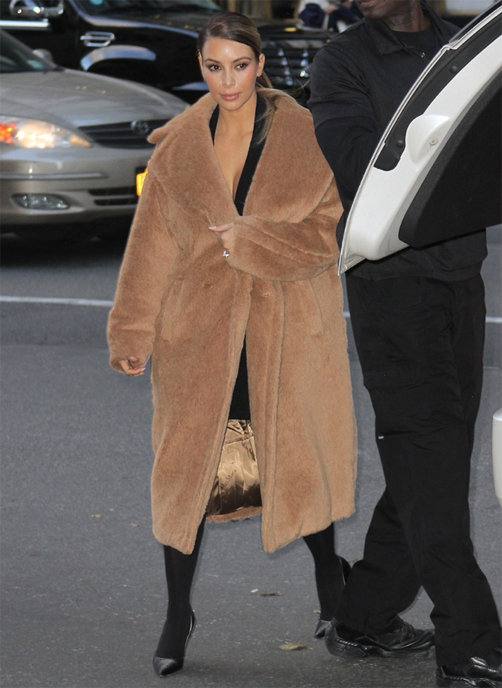 teddy bear coat kim kardashian