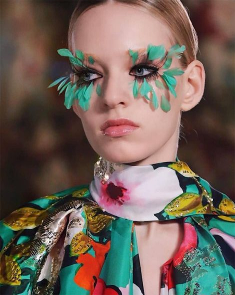 Feather lashes and brows at Valentino