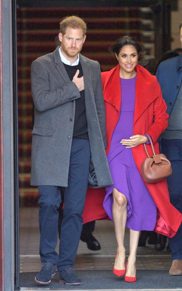 meghan markle purple red colour combination