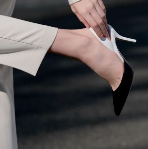Black and white slingback heel from Paul Andrew's own footwear brand