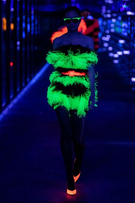 Saint Lauren PFW AW19 neon feather dress