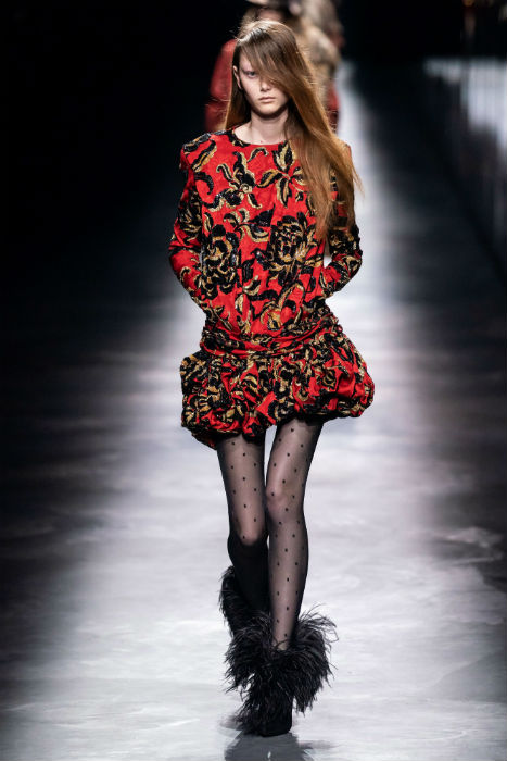 Saint Laurent PFW AW19 red, padded shoulder dress with polka dot tights and feathered boots