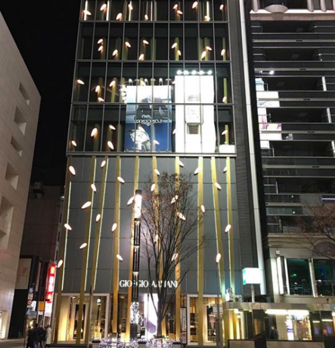 The Armani/Ginza Tower from the outside. Credit: Instagram/_tuker