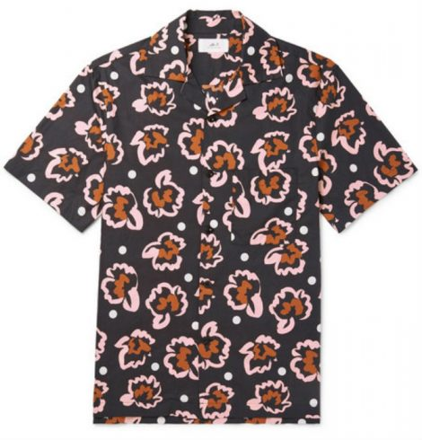 Camp-Collar Printed Cotton-Poplin Shirt mr p