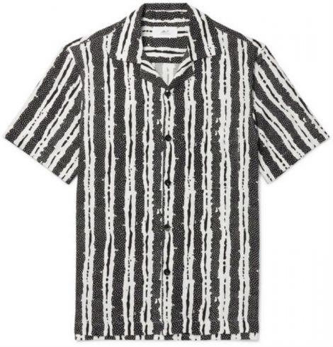 Camp-Collar Printed Woven Shirt Mr p