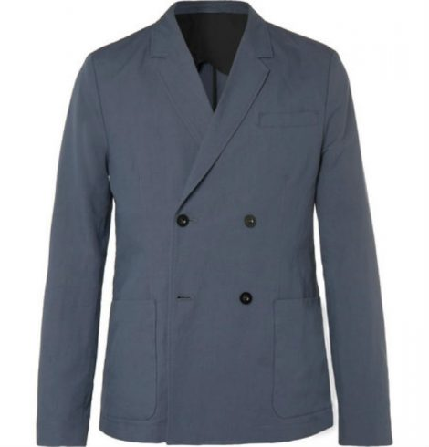 Dark-Blue Unstructured Double-Breasted Linen And Cotton-Blend Suit Jacket mr p