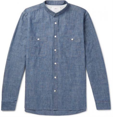 Grandad-Collar Selvedge Cotton-Chambray Shirt Mr P