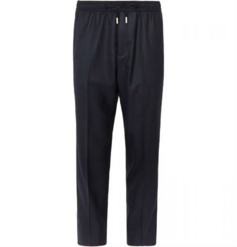 Midnight-Blue Slim-Fit Worsted-Wool Drawstring Trousers
