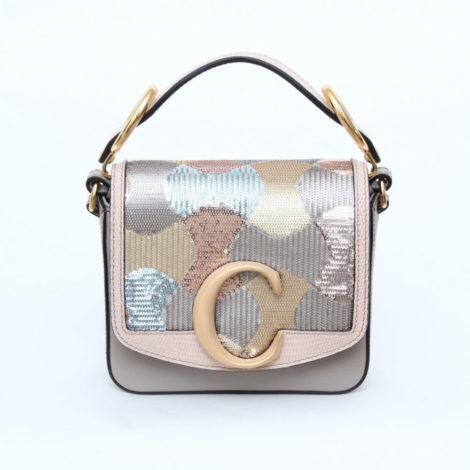 Chloé Mini C Bag in Sequins_AED AED 8325