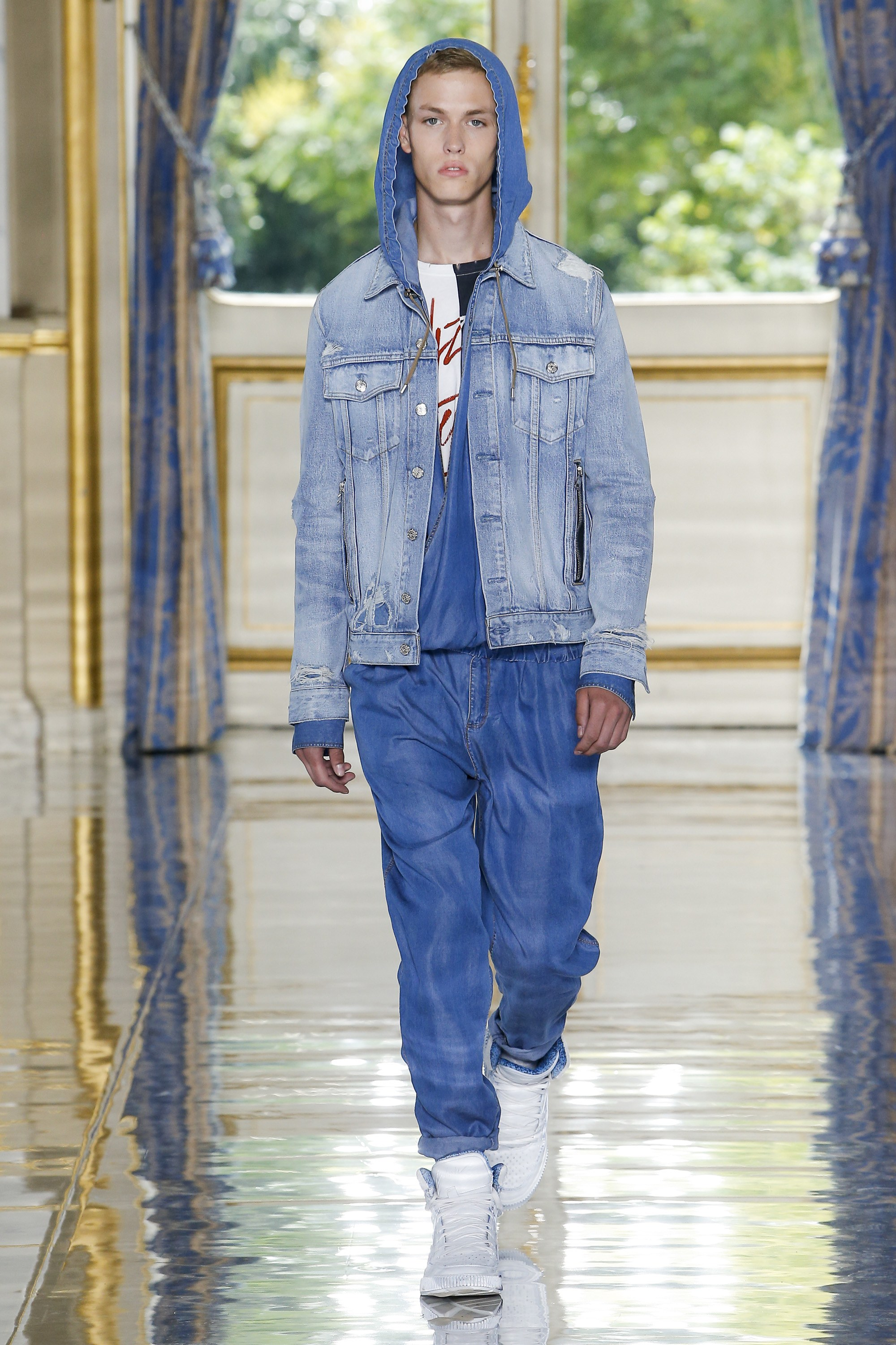 Head to toe denim, according to Balmain