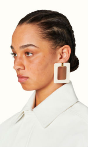boxy earrings in coco white