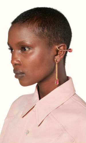 roped in rose tone ear cuffs long peach