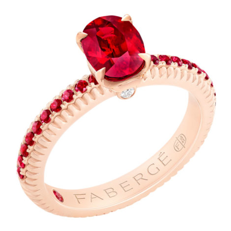 831RG1642-2 Fabergé Ruby with Ruby Pavé Rose Gold Fluted Ring