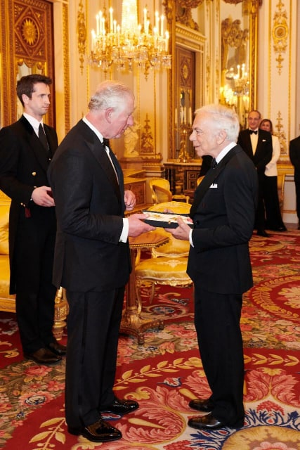Ralph Lauren has received an honorary knighthood Prince Charles for his contribution to fashion