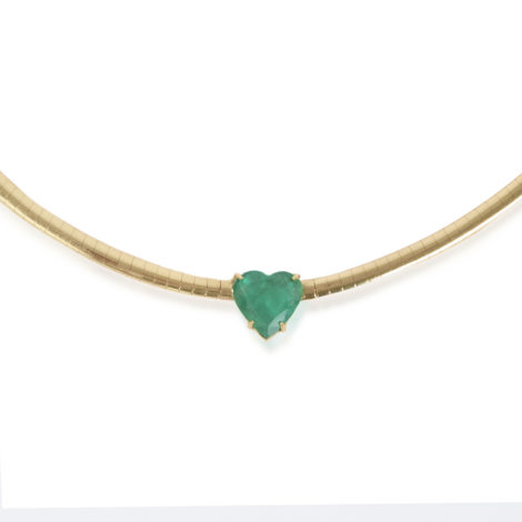The Last Line - Emerald Heart Omega Necklace - AED18734 - 2