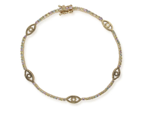 The Last Line - Rainbow Evil Eye Tennis Bracelet - AED12599