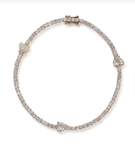 The Last Line - Rose Gold Tennis Bracelet with Diamond Hearts - AED49919
