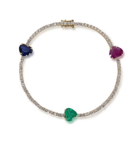 The Last Line - TriColored Ruby Diamond Heart Bracelet - AED37155