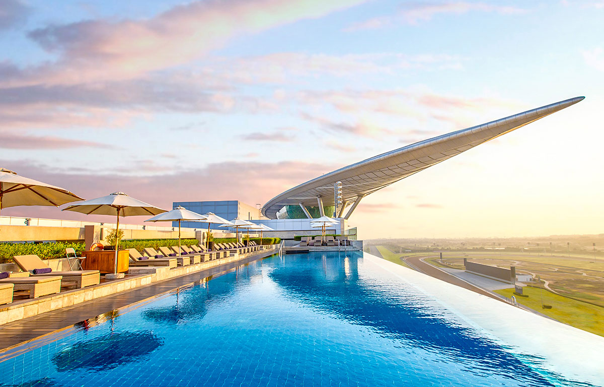 The infinity pool at The Meydan Hotel
