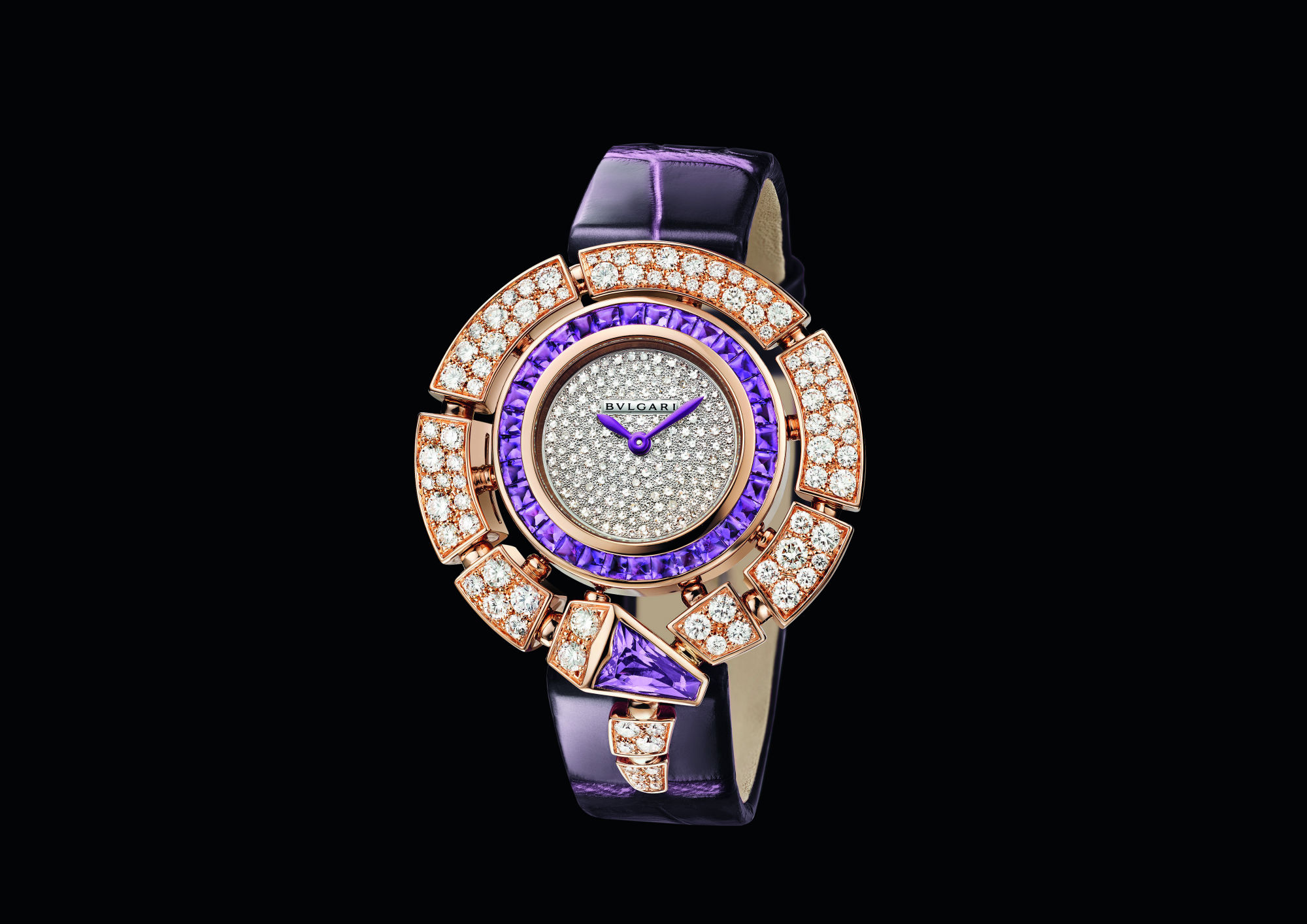 The newest take on the Bvlgari Serpenti watch uses amethyst gemstones known to calm the mind and body