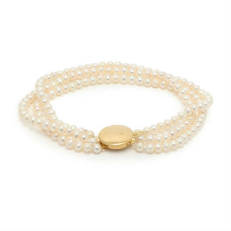 1 Timeless Pearly Beaded Pearl and Gold-Plated Anklet Matches Fashion