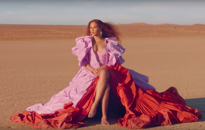 Beyoncé wore a Valentino dress in the opening scenes of her Spirit video as part of The Lion King soundtrack