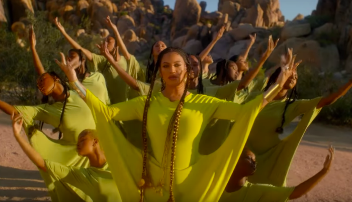 Beyoncé, who voices Nala in The Lion King 2019 remake, sported the neon yellow dress with a team of talented dancers