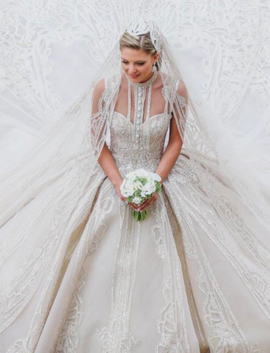 Christina Mourad, or Kiki, wore a wedding dress designed by father-in-law Elie Saab