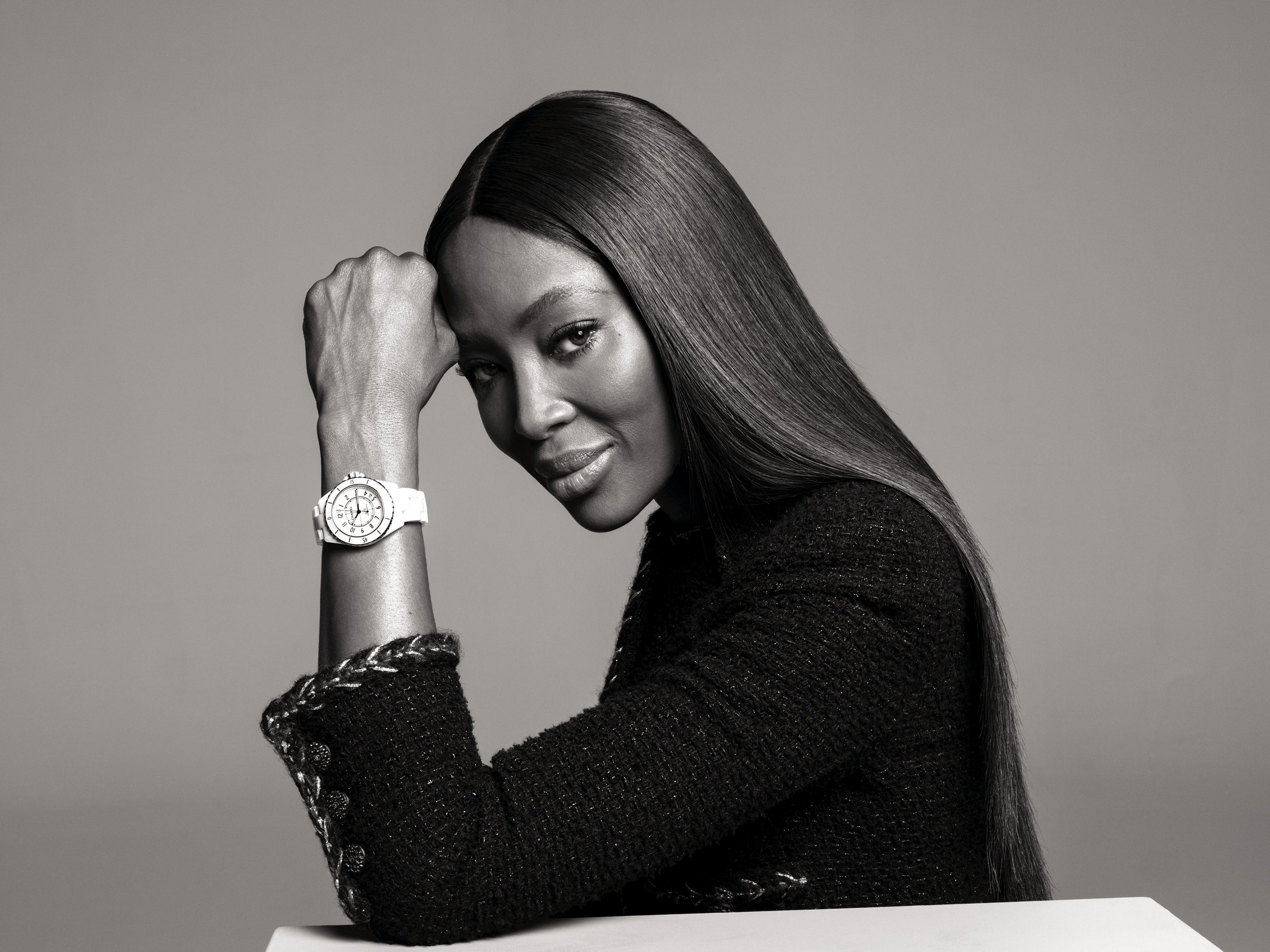 Naomi Campbell modelling the latest Chanel J12 watch