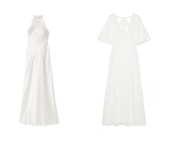 The Net-A-Porter collection features lace and silk fabric dresses