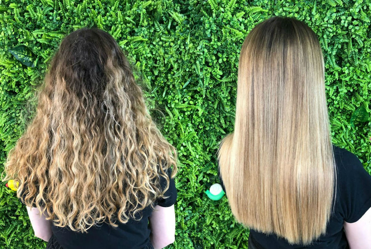 The before and after results of THT's Amazon Coconut Keratin Hair Treatment