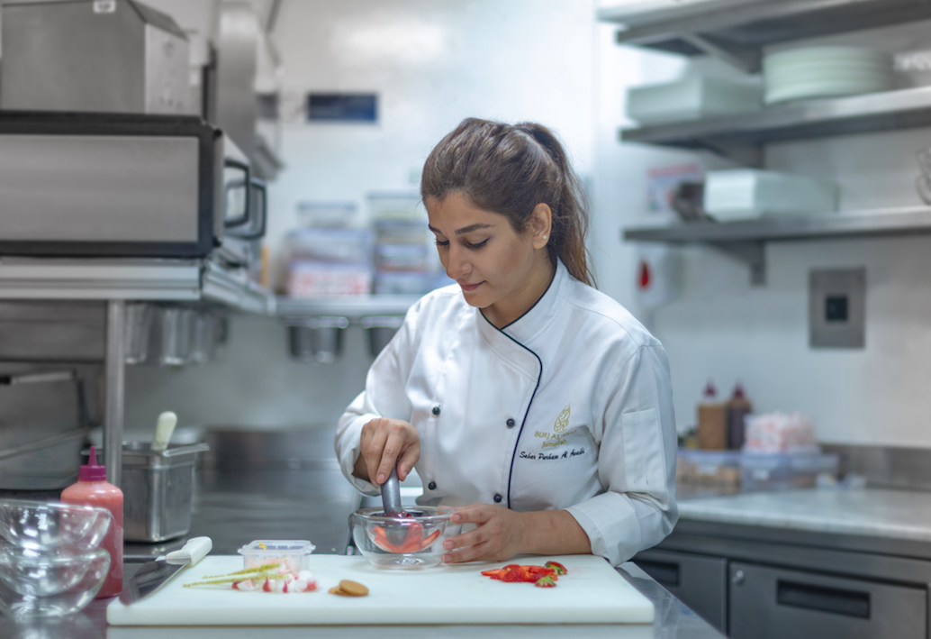 Sahar Al Awadhi in the kitchens at the Burj Al Arab