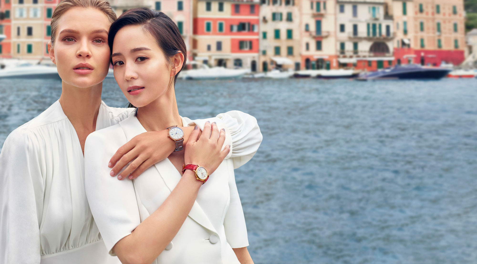 Model Josephine Skriver and Actress Ning Chang took to the Italian coast to model the watch