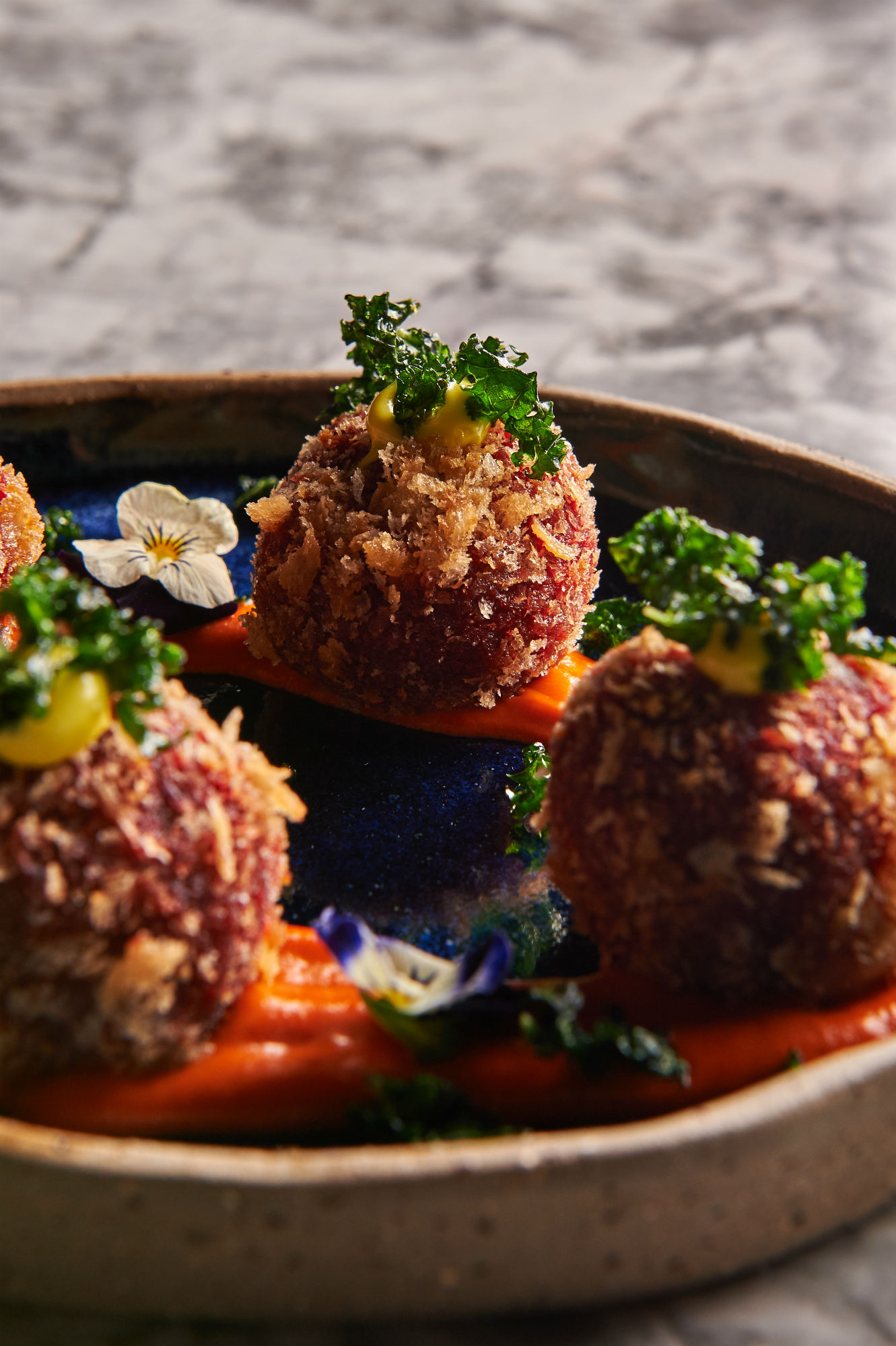 The spiced beetroot croquettes in a red pepper sauce with kale were some of our favourite bites at Masti