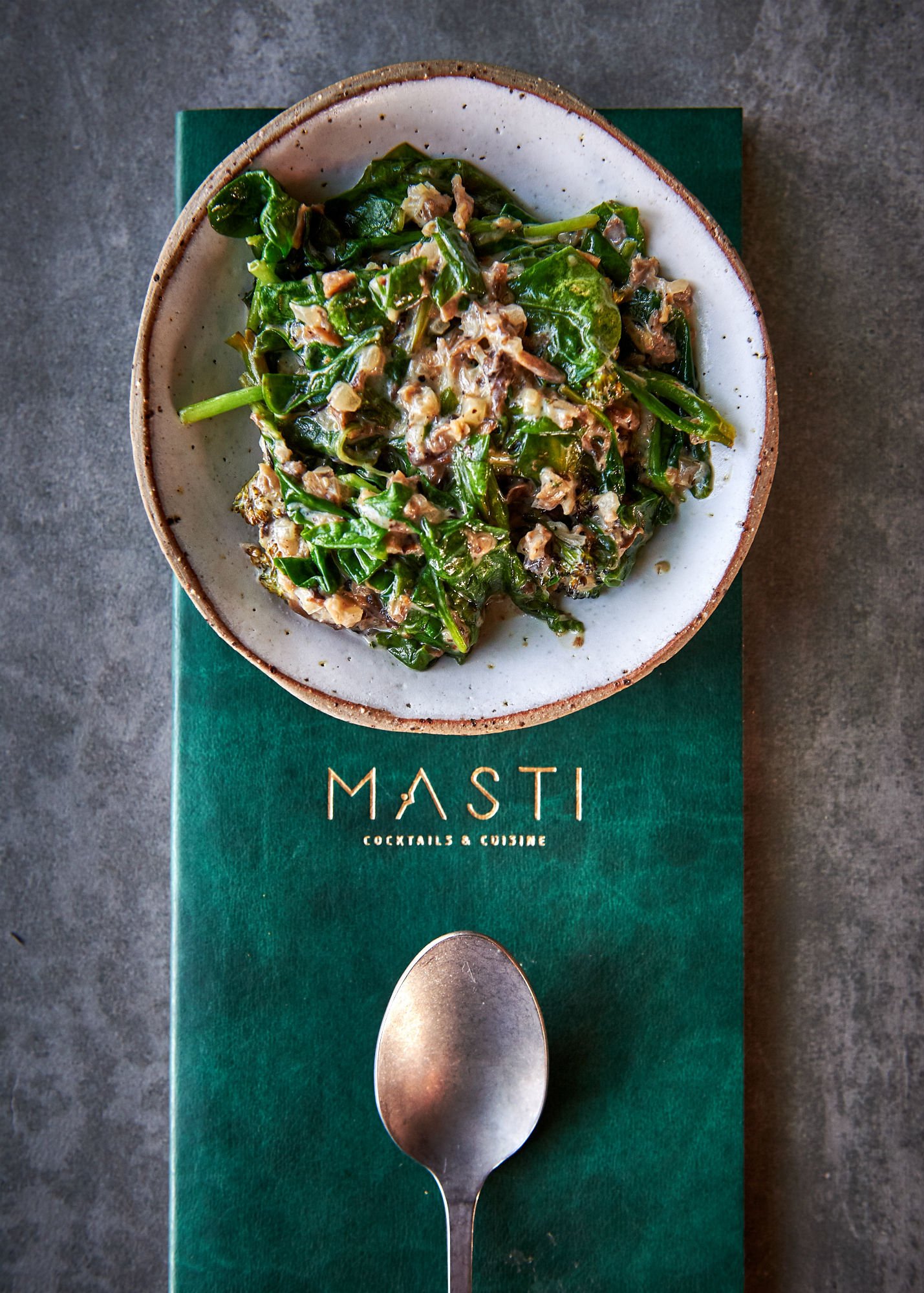 Creamed spinach at Masti in La Mer, Dubai