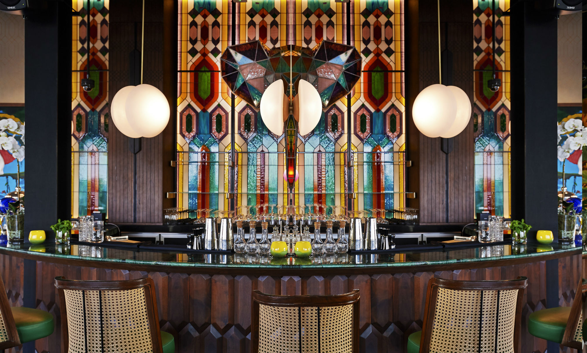 The stained glass elephant head that hangs over the bar at Masti is a stand out feature of the interior decor