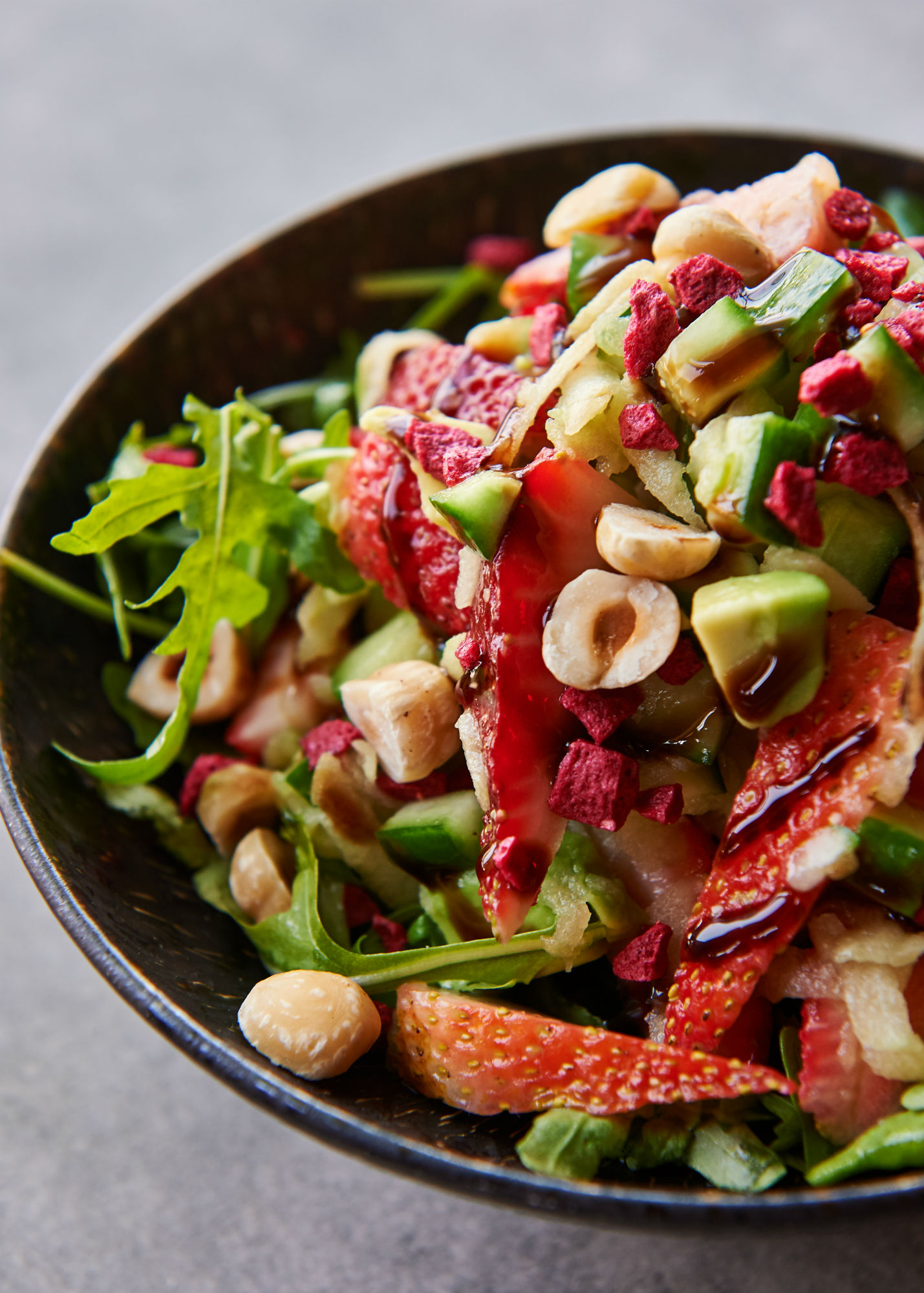 A mix of textures and flavours in the balsamic strawberry and arugula salad wins us over