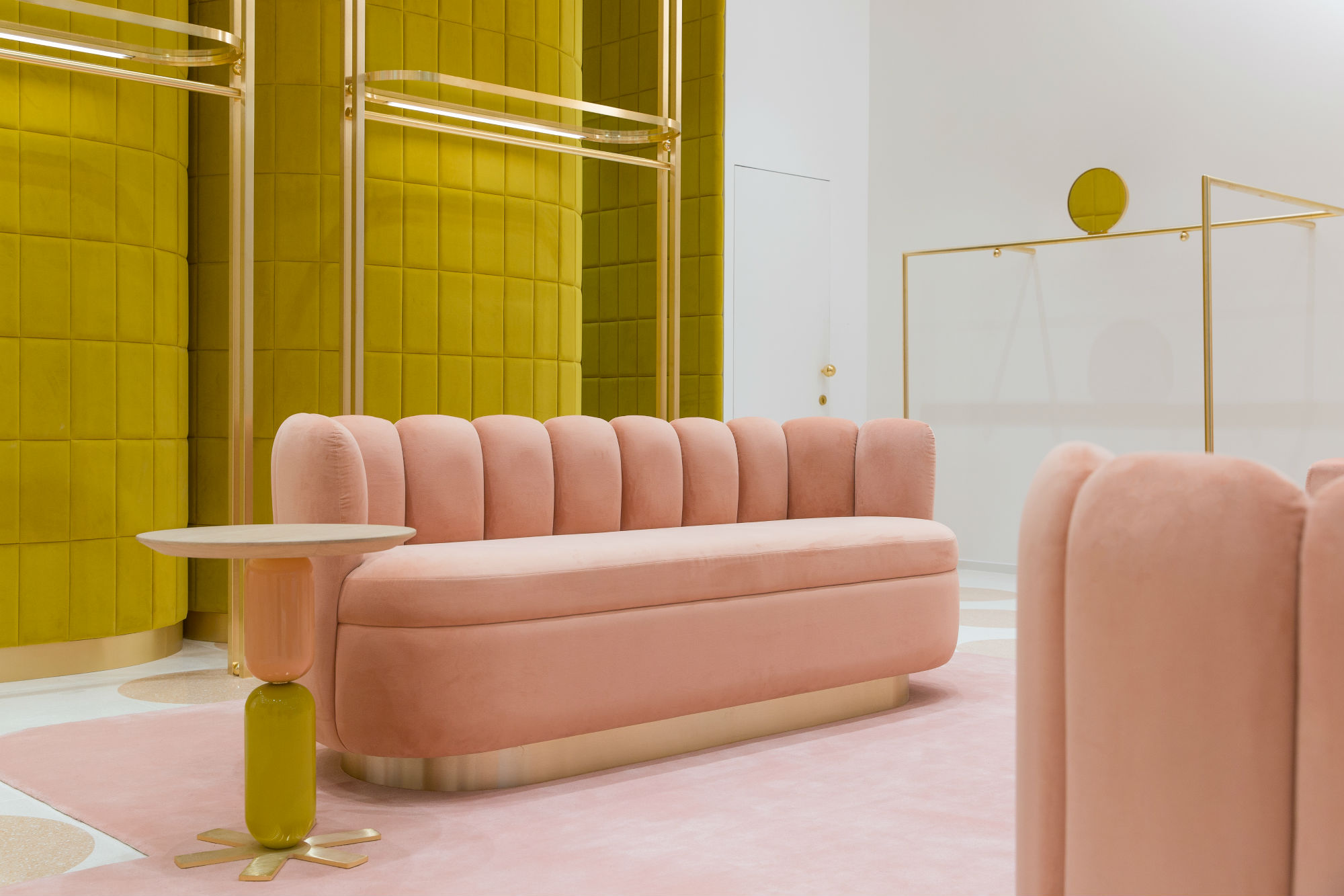 Pink and brass make up the colour scheme in the new The Dubai Mall store