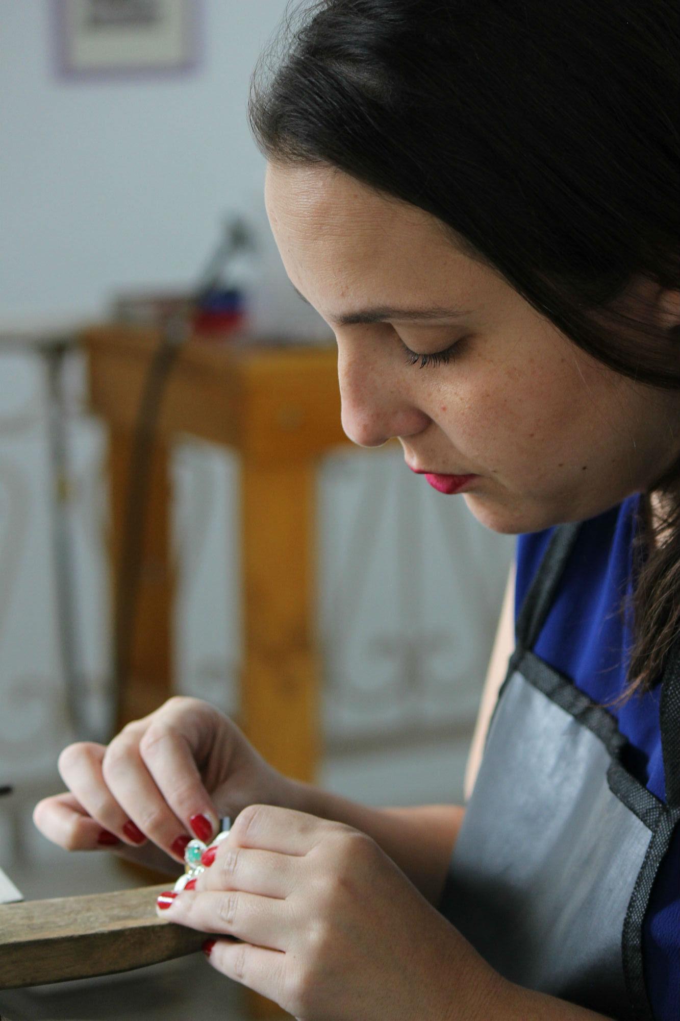 Amy Gattas pictured in her jewellery workshop