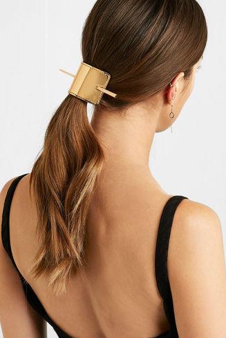 1 net a porter BALMAIN PARIS HAIR COUTURE Gold-tone and metallic leather hairclip