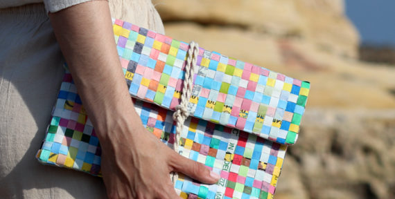 Nour Kays creates handbags using recycled plastic carrier bags