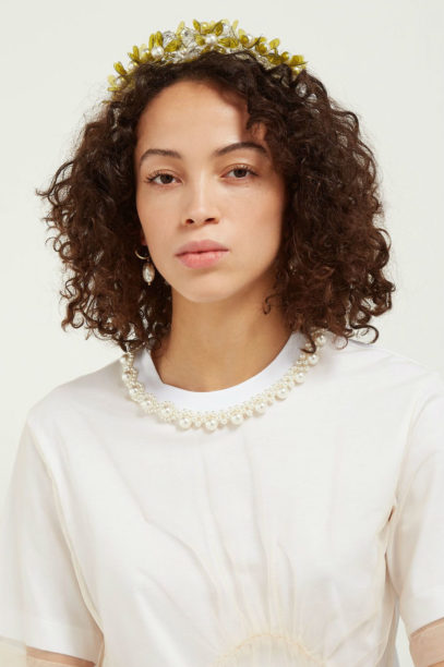 matches fashion SIMONE ROCHA Floral-crystal bead and feather headband