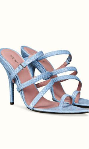 spiralling sandals in denim blue