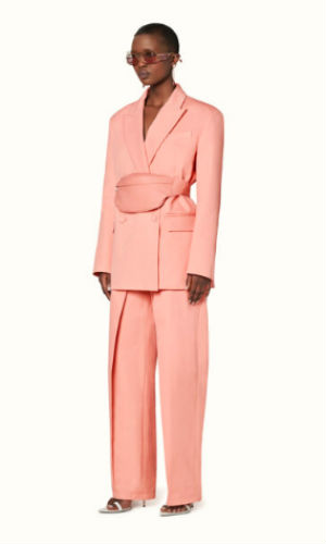 suit jacket with fanny pack in marjan rose