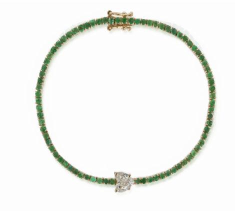 The Last Line - Diamond Heart and Emmerald Tennis Bracelet - AED18054